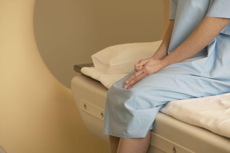 woman waiting on MRI table