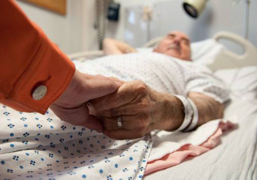 Sick senior citizen in hospital