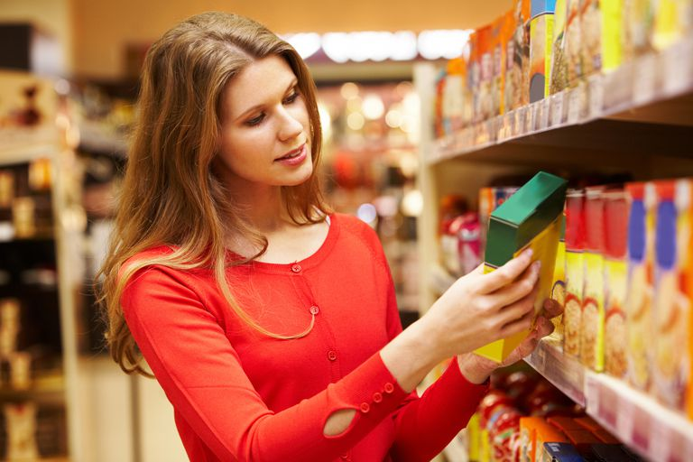 Woman selecting groceries