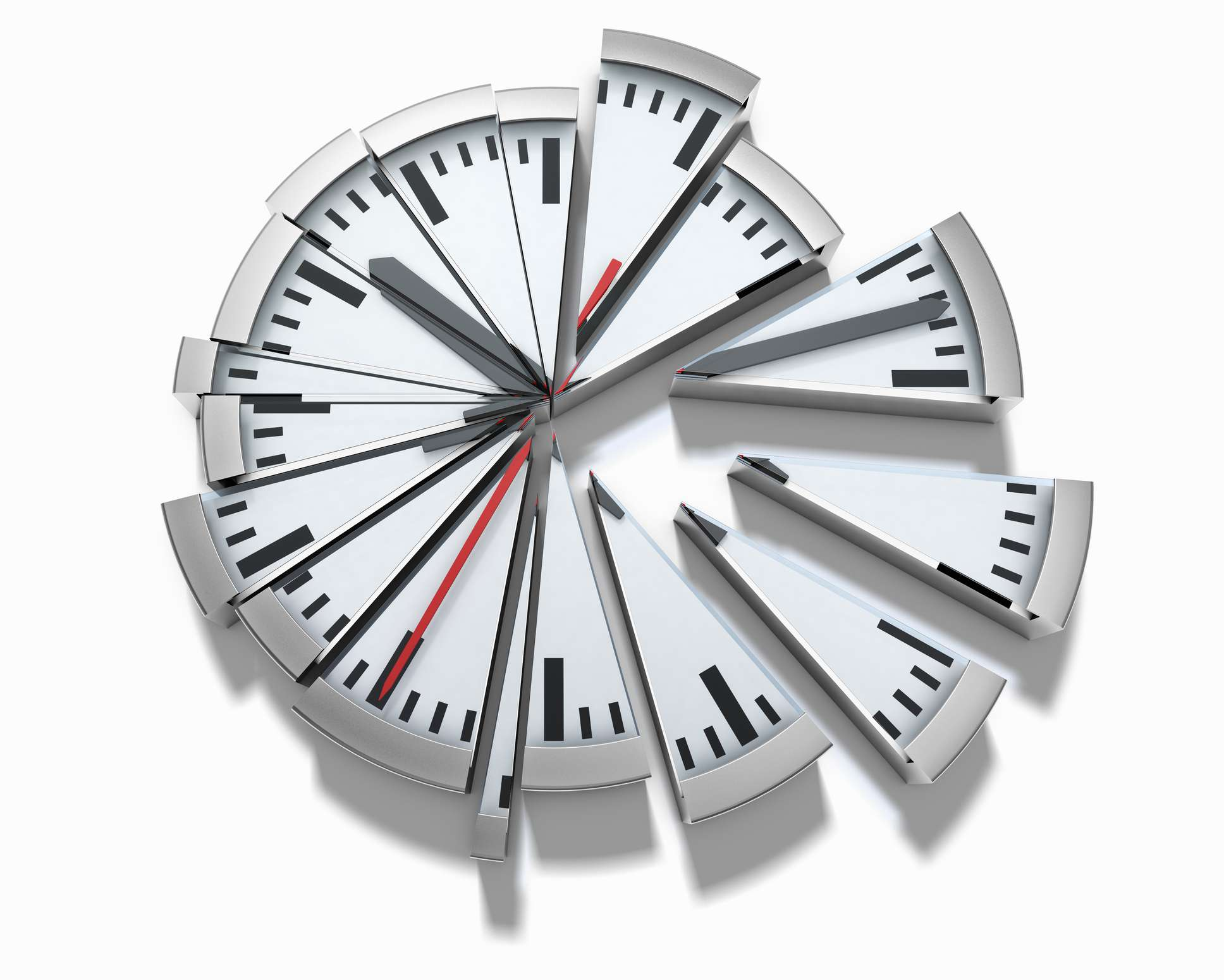 A clock is divided into multiple slices, like a pie.