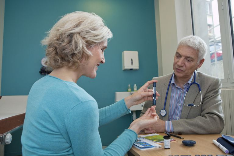 Doctor watching woman test for diabetes
