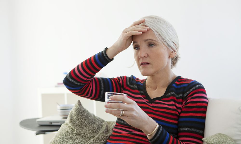 Woman having a hot flash.