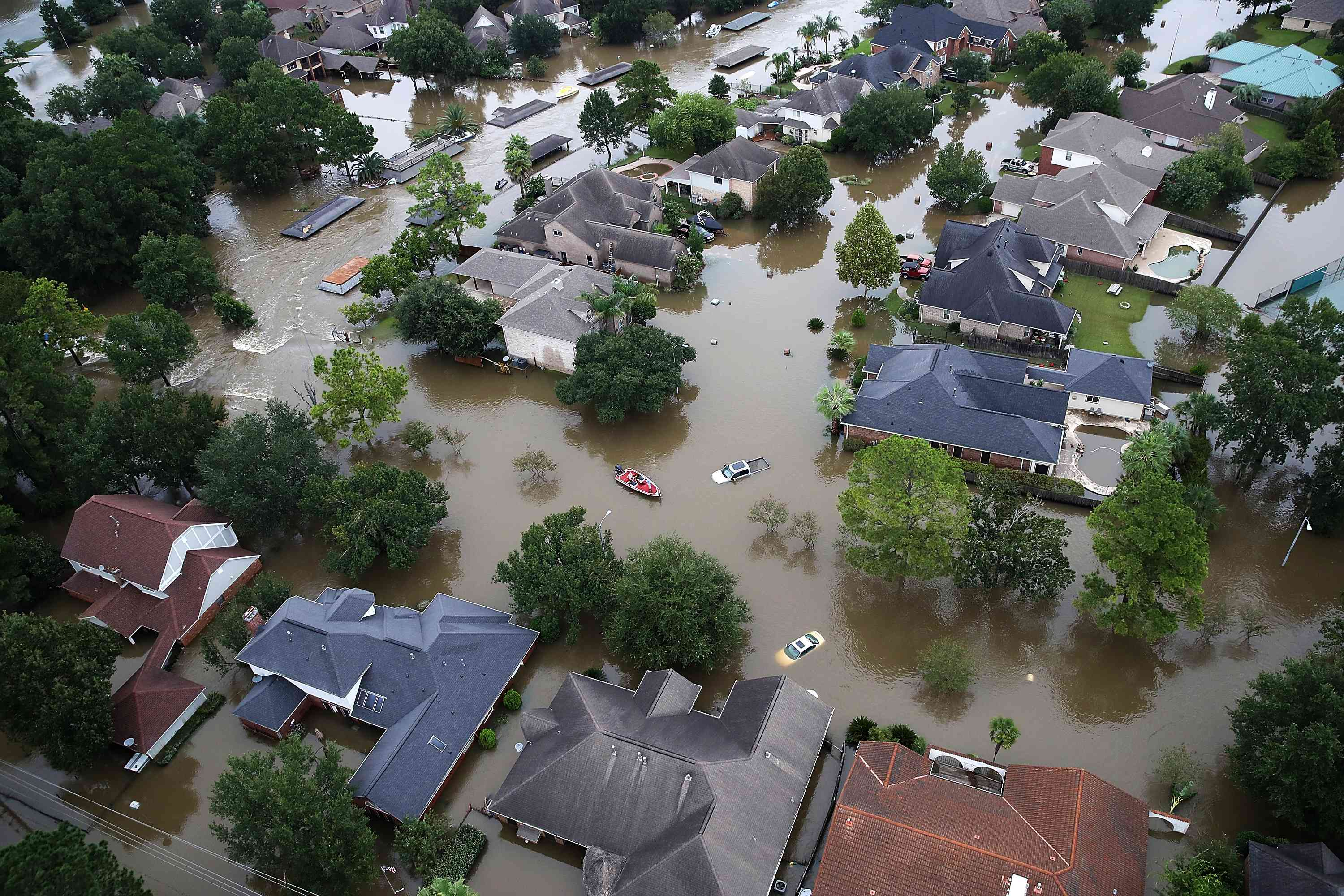 Aerial view of a flooded neighborhood in Houston, Texas after Hurricane Harvey