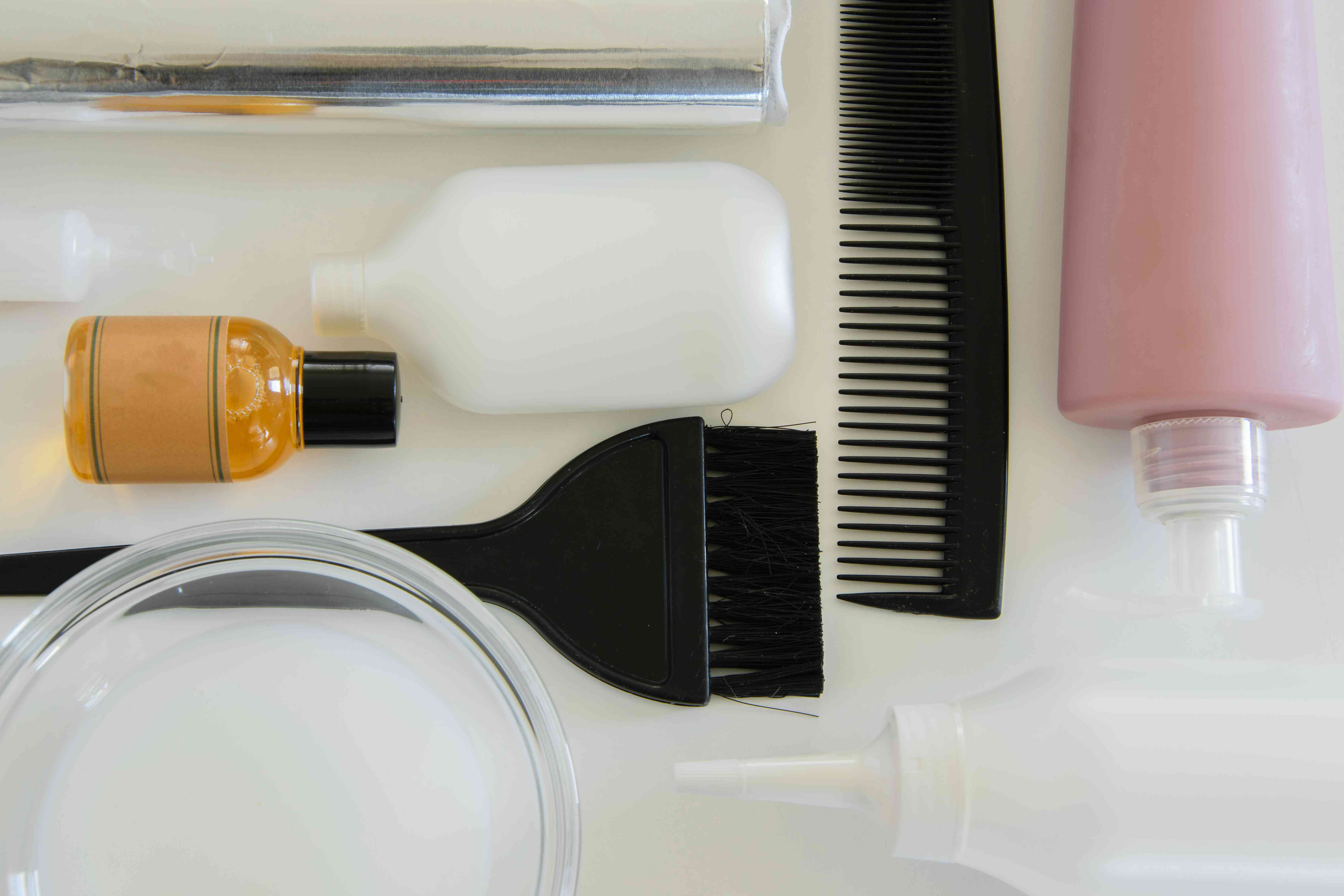 High Angle View Of Hair Dye On White Background