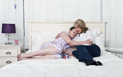 Woman Comforting Daughter with TNBC