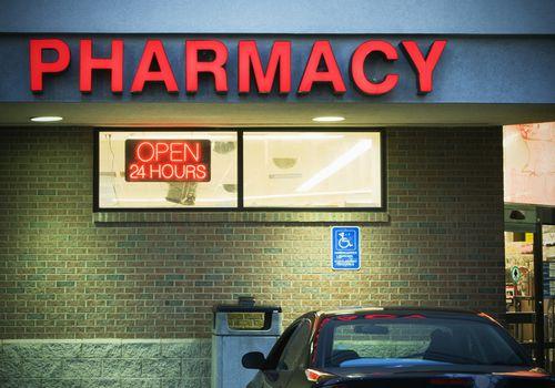 A 24 hour pharmacy sign.