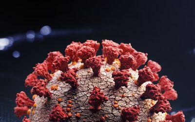 close up of COVID-19 virus.