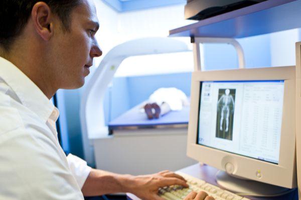 Bone density scan on computer