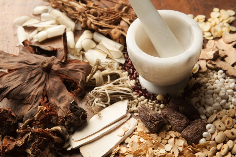 A variety of Chinese herbal medicine ingredients and a mortar and pestle