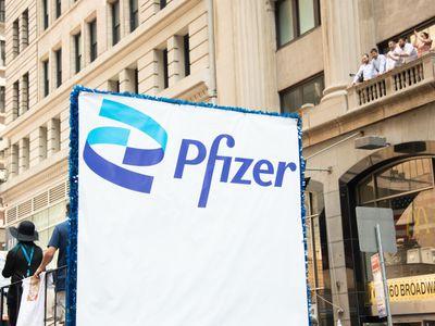 Pfizer banner in Manhattan