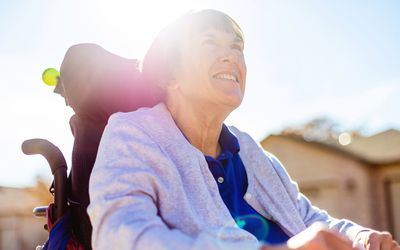Mature Adult Female with Disability Living Life to the Fullest Photo Series - stock photo