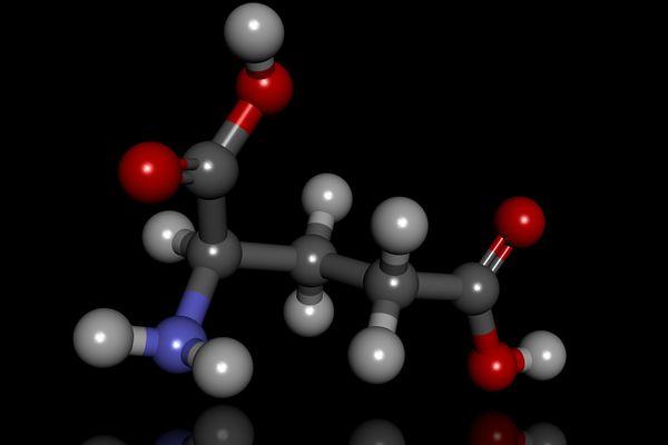 Illustration shows a glutamate molecule.