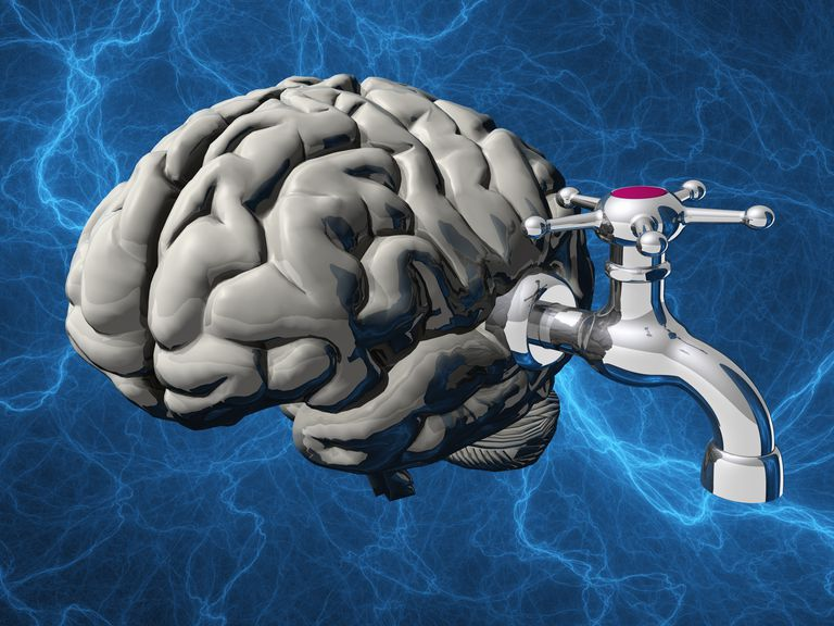 illustration of a water tap attached to a brain