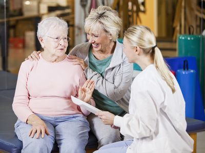 Photo of a woman and daughter in physical therapy.