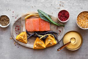Salmon, kale, pumpkin and grains