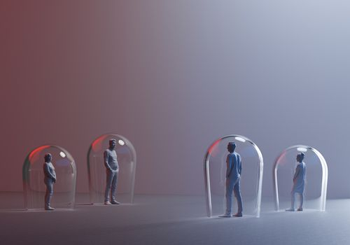 Illustration of people standing apart under glass baubles.