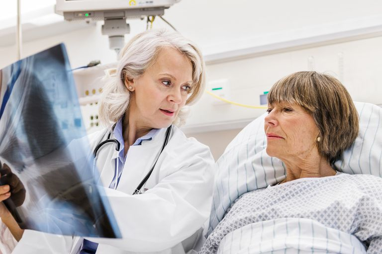 Mature female doctor checking x-ray with female mature patient in patient room.