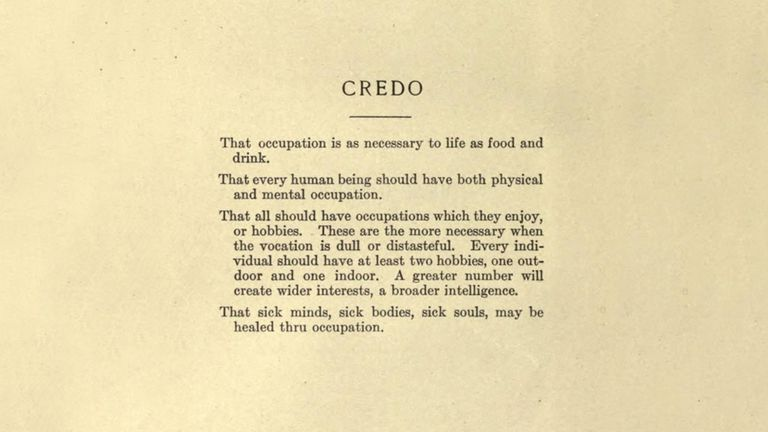 """Credo from the book """"Reconstruction Therapy"""" by Dunton."""