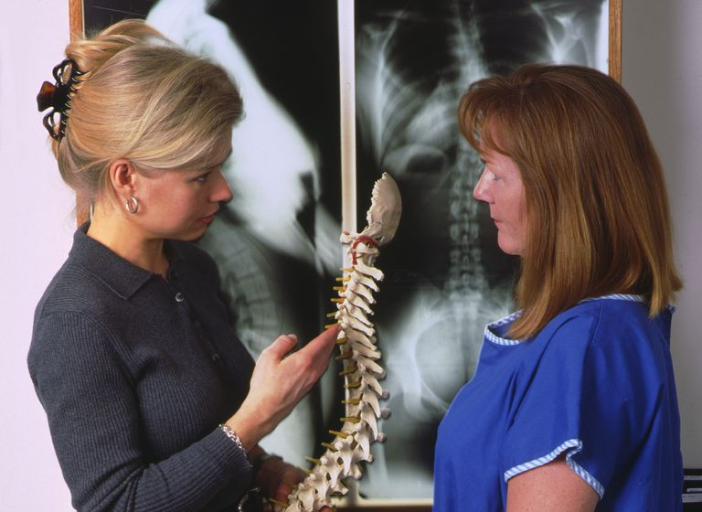 doctor showing vertebrae display to female patient