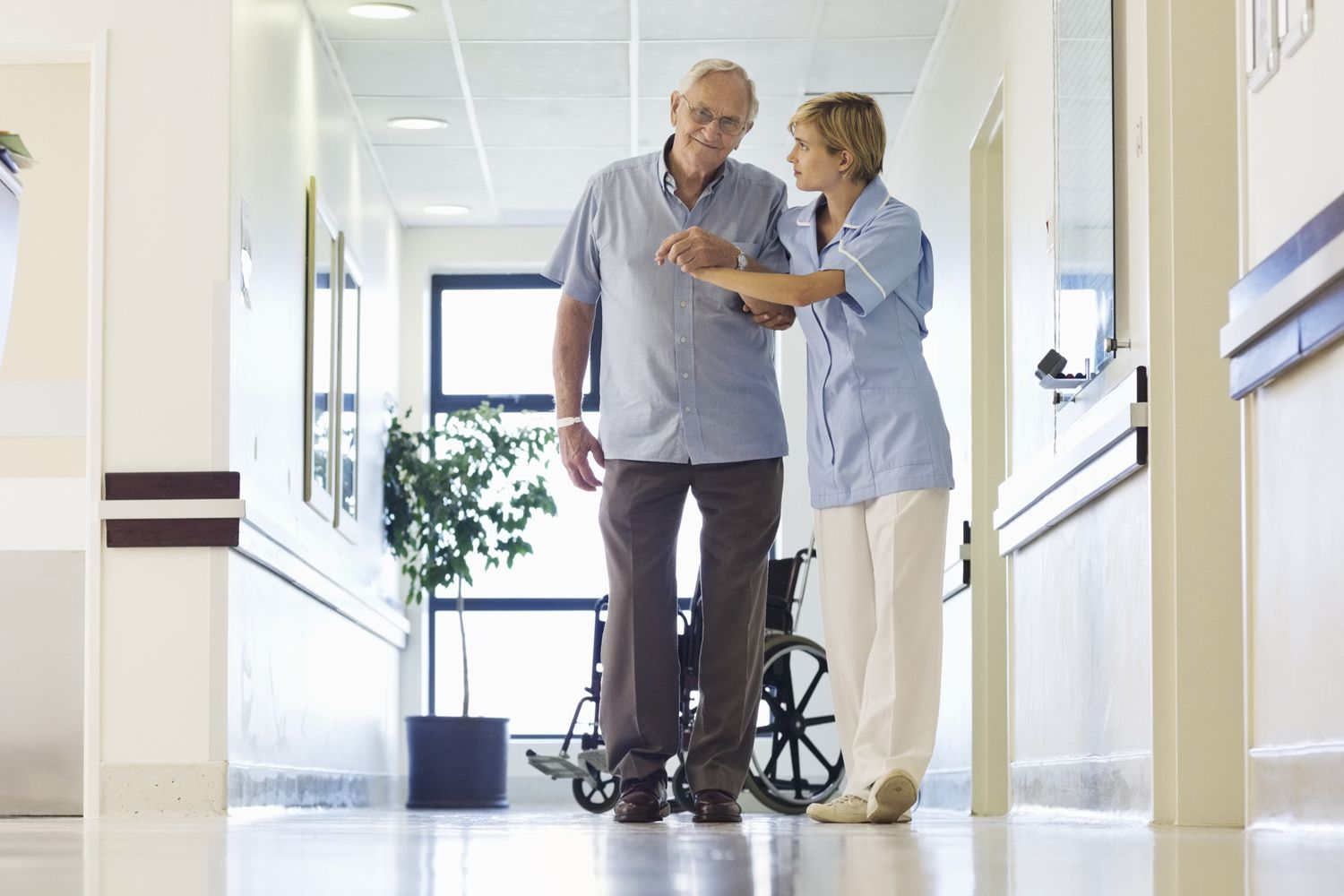 An ambulatory patient and his nurse