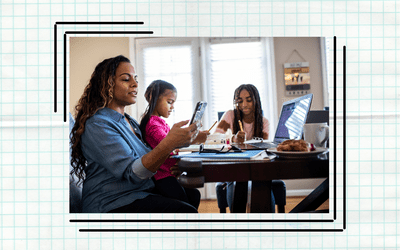 Mother works while her two children participate in remote learning.