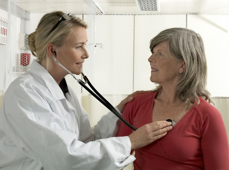 Doctor examining mature woman