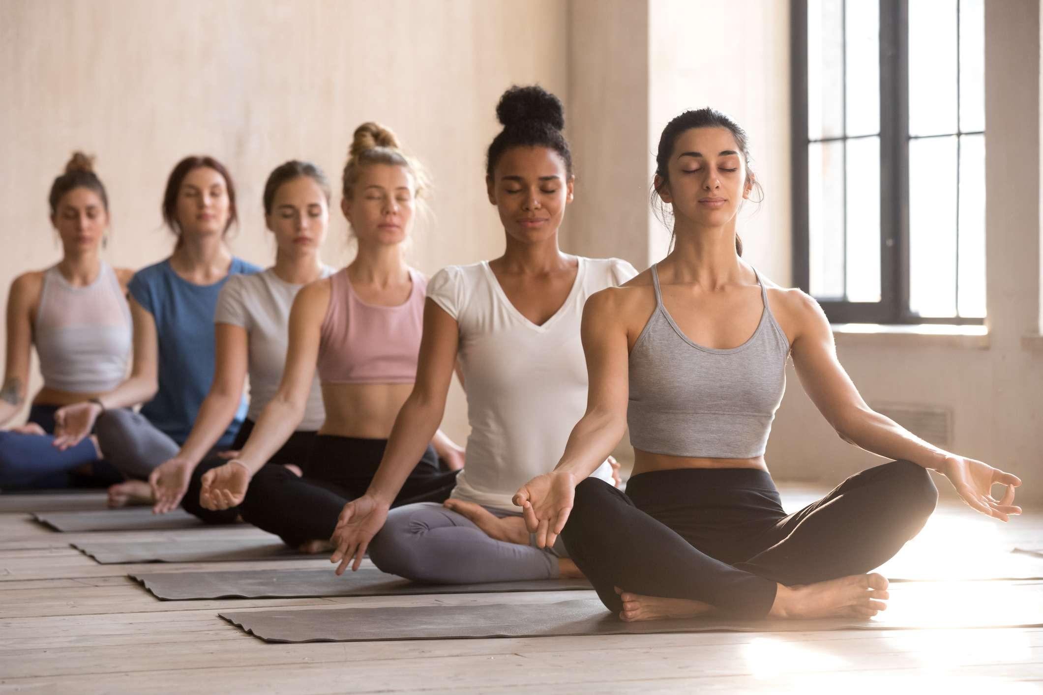 Women in lotus pose