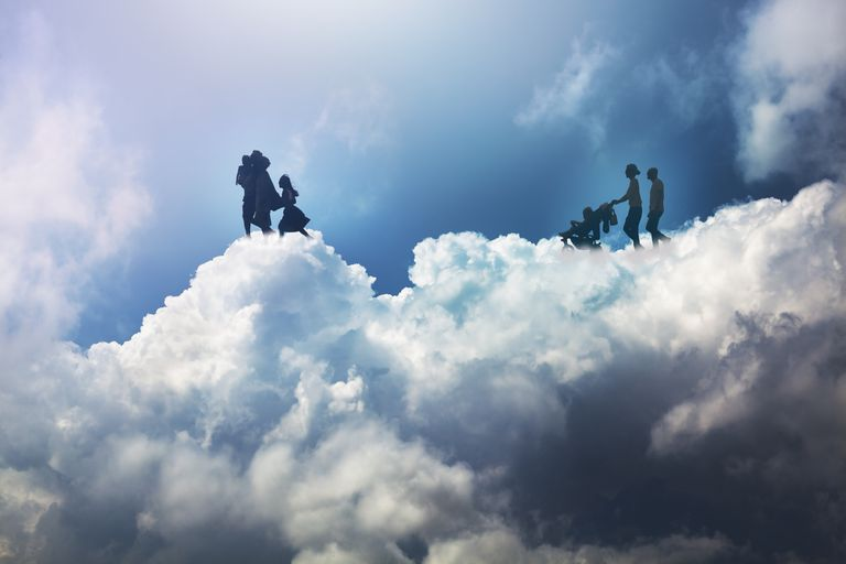 people walking in the clouds