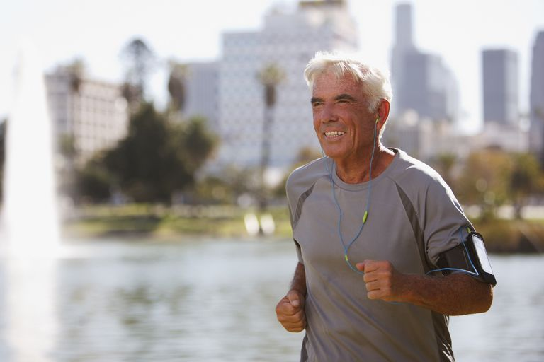A senior out for a run.