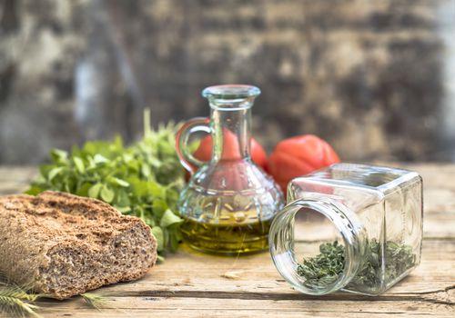 Olive Oil - Bread - Herbs - Mediterranean Diet