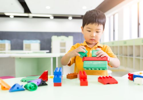 Young boy playing the blocks
