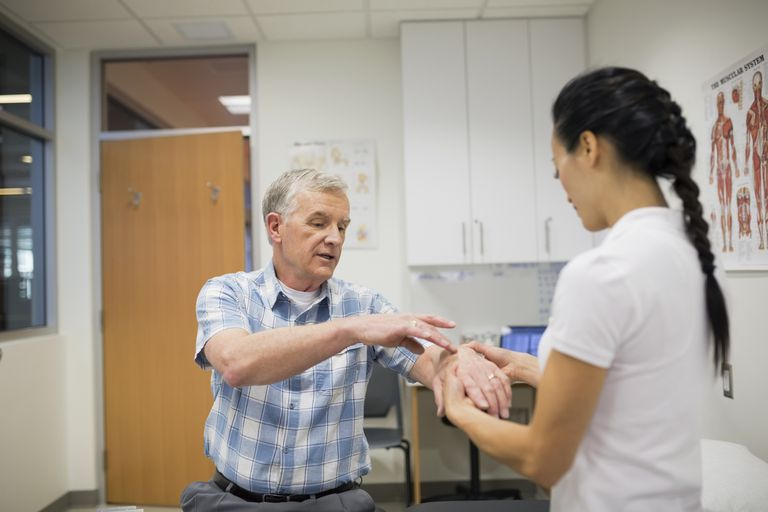 Patient describing wrist pain to physical therapist