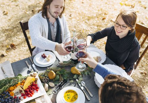 drinking wine outdoors in autumn