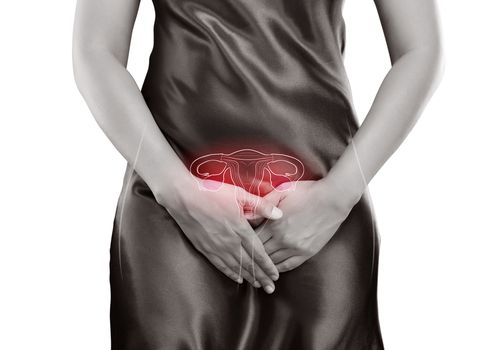 Midsection Of Woman Against White Background