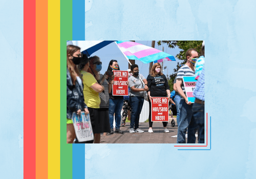 people protesting anti-trans health care legislation