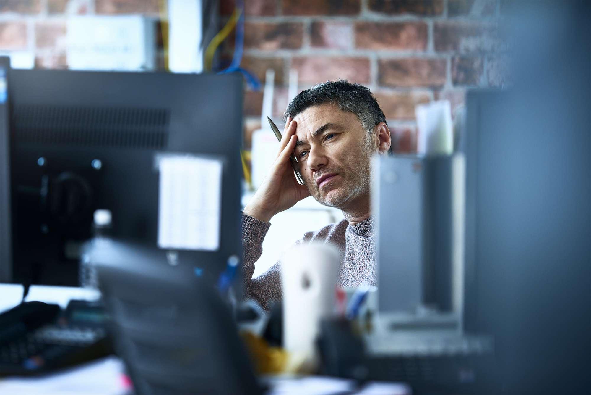 Man tired at work