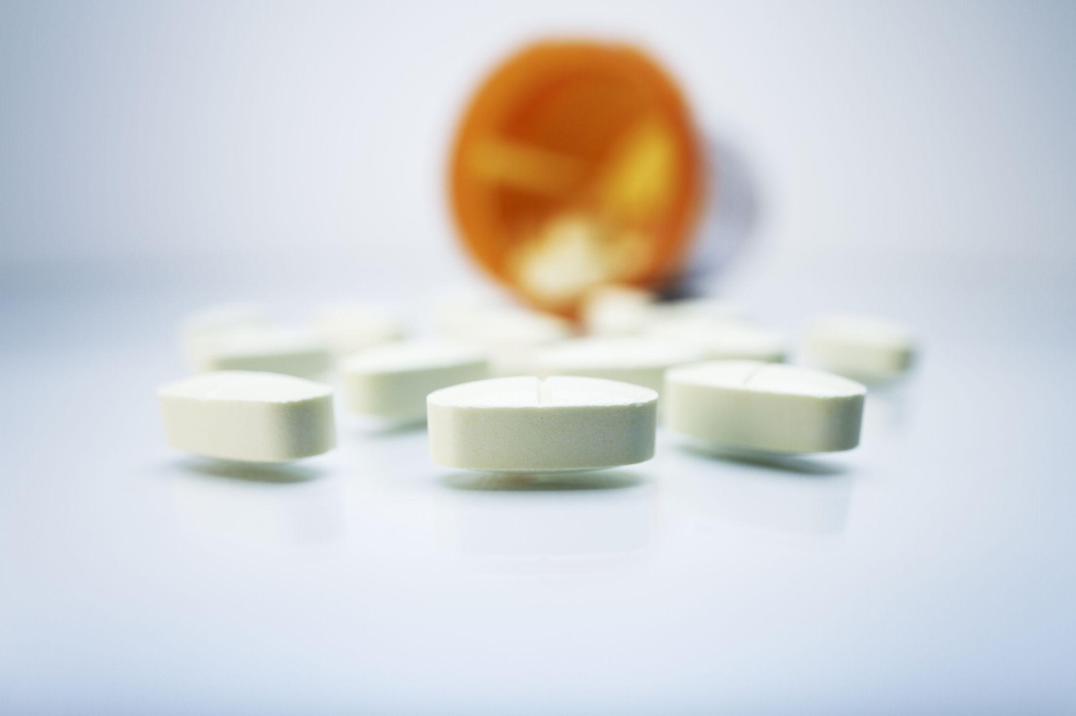 Bottle of pills spilled