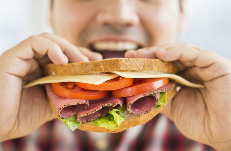Man eating sandwhich
