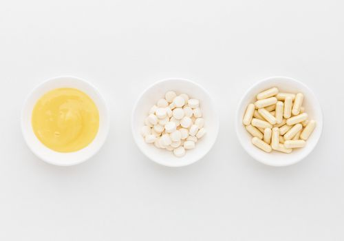 Raw royal jelly, tablets, and capsules