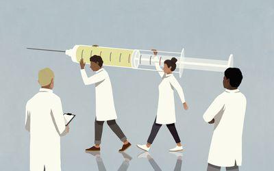 Illustration of scientists holding a vaccine syringe.
