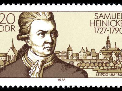 Information: 200. Jahrestag der Gründung der ersten staatlichen Bildungseinrichtung für Gehörlose: Samuel Heinicke, Taubstummenlehrer, Begründer der Bildungseinrichtung; Leipzig um 1800
