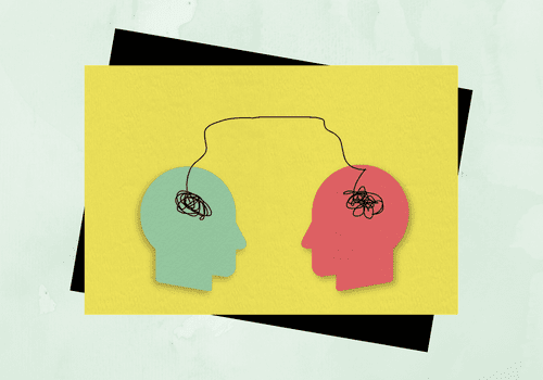 Illustration of two heads and their brains.