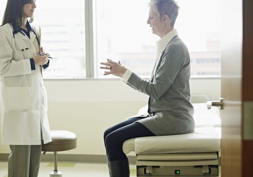 patient on doctor examination table