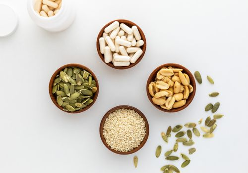 Glycine capsules, pumpkin seeds, sesame seeds, and peanuts