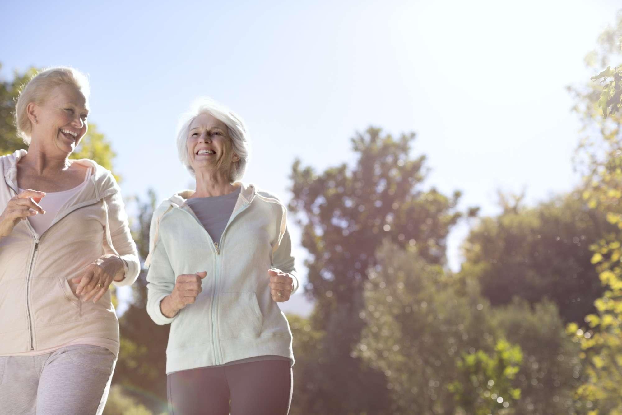 Older women running outdoors
