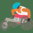 An adaptive athlete using an athletic wheelchair