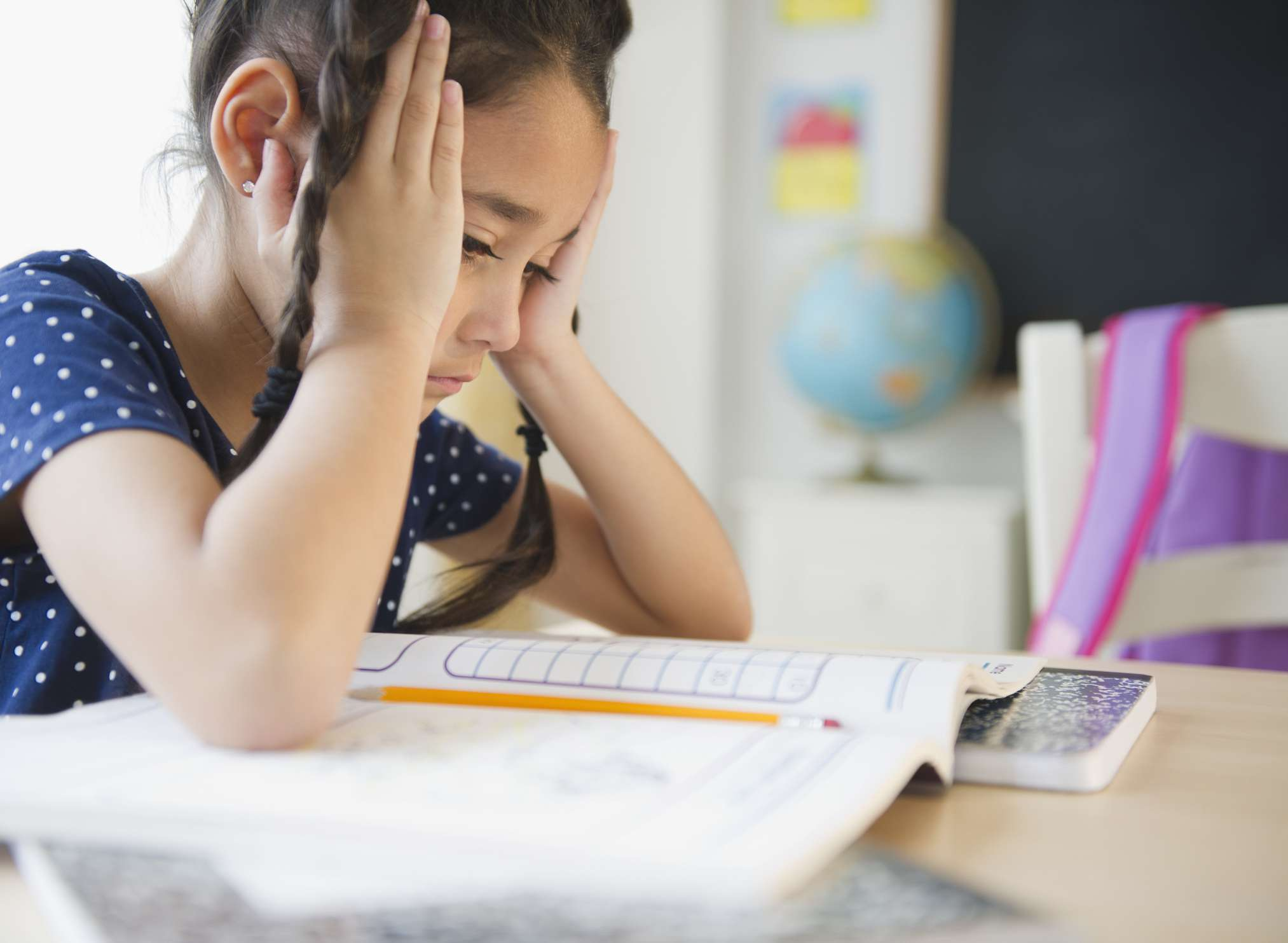 little girl frustrated in school