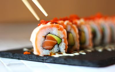 A plate full of sushi