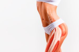 Woman's gluteus muscle and body structure.