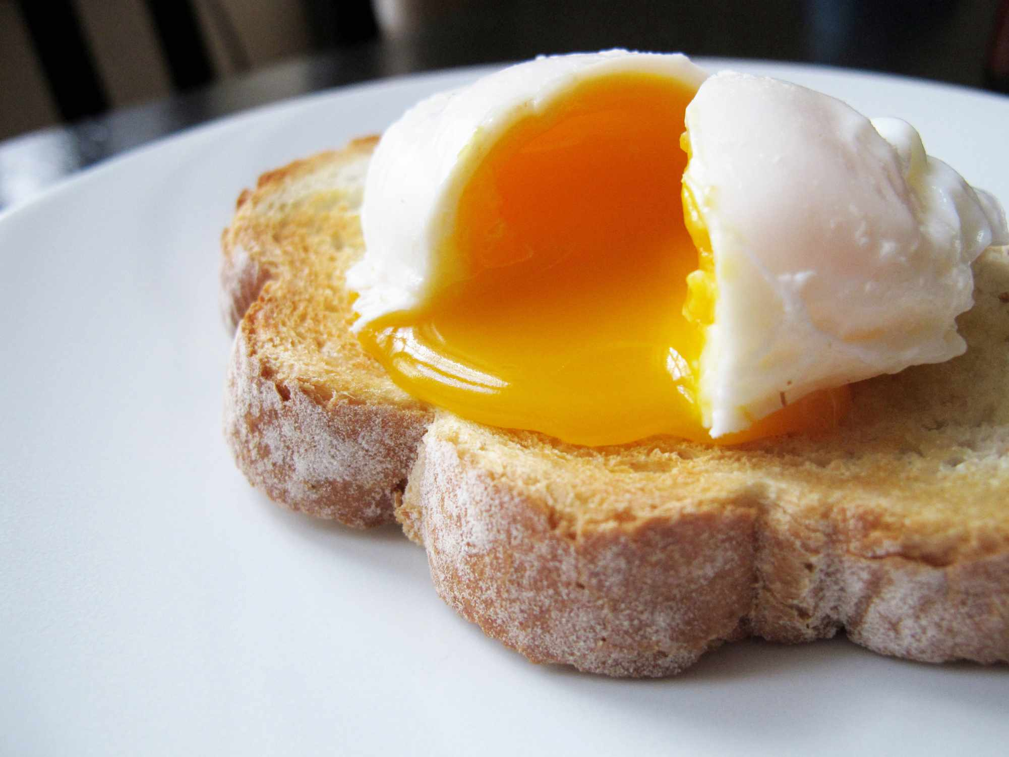 A poached egg on bread